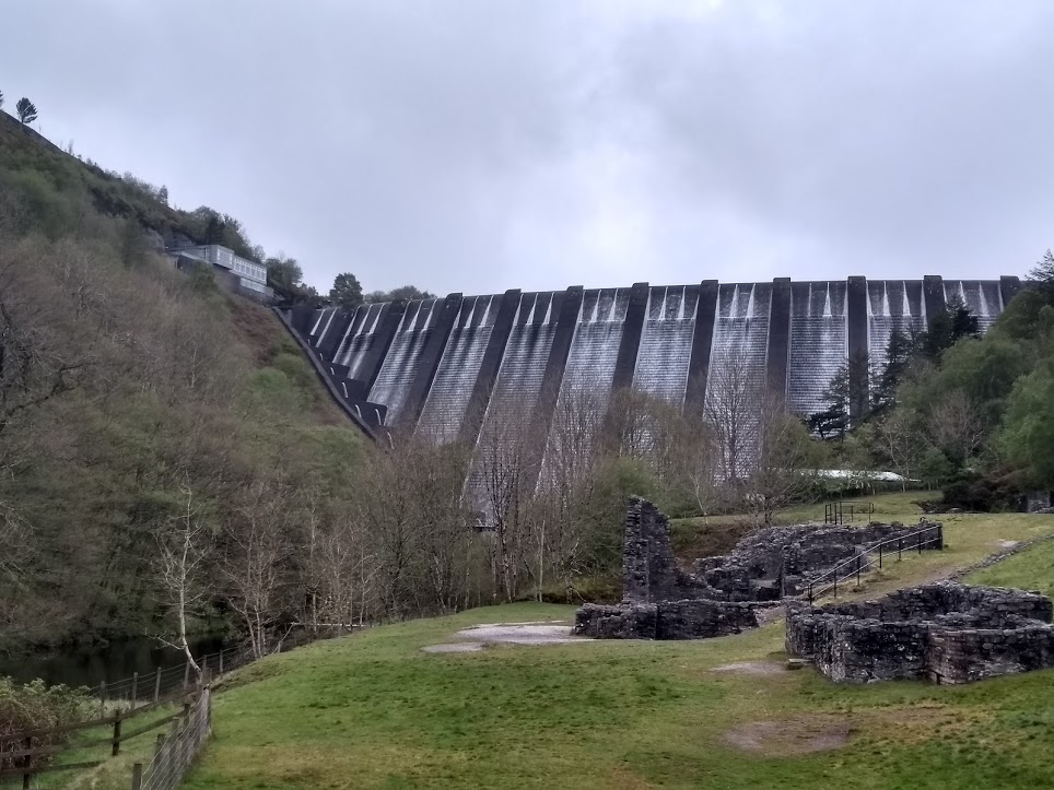 Clywedog dam from a distance