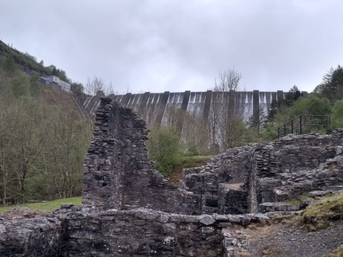 Bryntail mine buildings with dam beyond