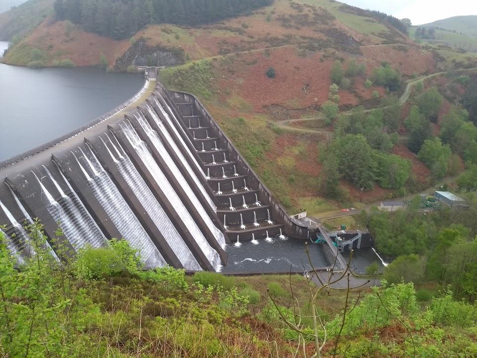 Clywedog dam from above