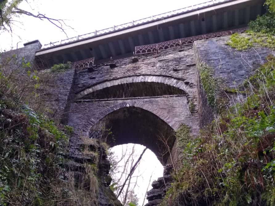 Three stacked bridges at Devil's Bridge