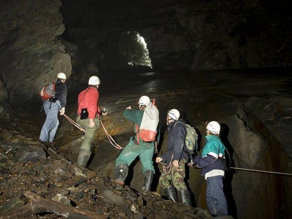 Group exploring Corris Mine underground.